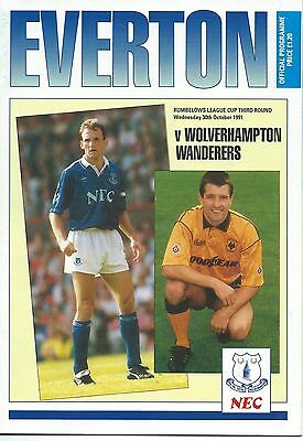 EVERTON v WOLVERHAMPTON WANDERERS on Wed. 30th. Oct. 1991  PROGRAMME.