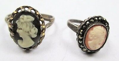 Good vintage Deco sterling silver, marcasite & carved shell cameo ring + 1