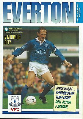 EVERTON v NORWICH CITY on Tue. 3rd. Sep. 1991  PROGRAMME.