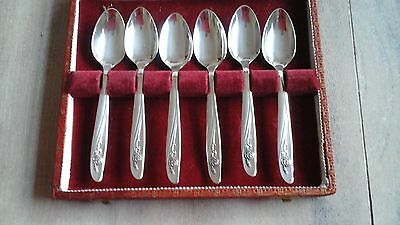 """1950's- ONEIDA """"ROSE SONG"""" SILVER PLATED SPOONS - BOXED FATTORINIS OF BRADFORD"""