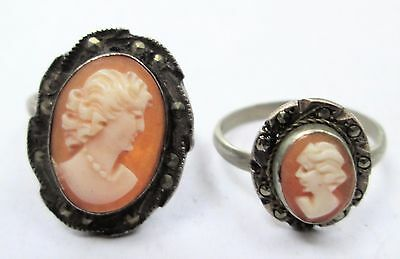 Two good vintage Deco 800 silver, marcasite & carved shell cameo rings