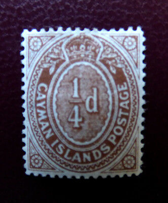 Cayman 1908 quarterpenny, mint, hinged with gum (CV £4.75)