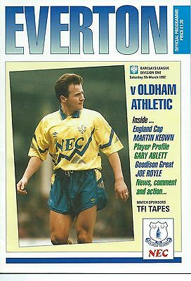 EVERTON v OLDHAM ATHLETIC on Sat. 7th. March 1992  PROGRAMME.