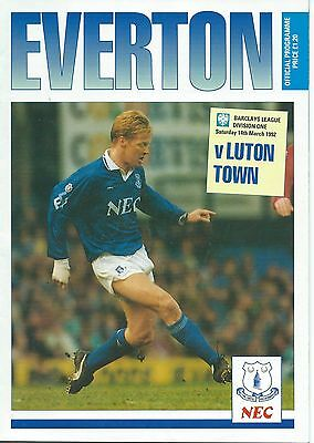 EVERTON v LUTON TOWN on Sat. 14th. March 1992  PROGRAMME.