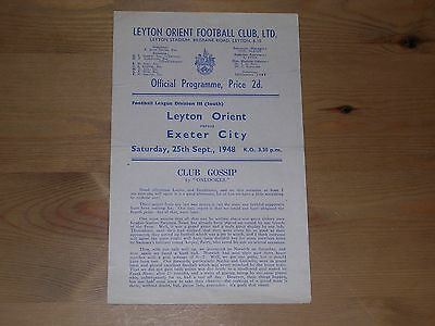 1948/49  LEYTON ORIENT v EXETER CITY  DIVISION 3 SOUTH  25/09/1948