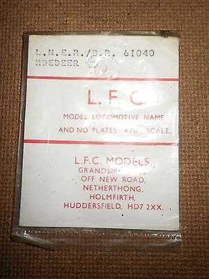 Model Railway Locomotive Plates : LNER / BR : 1 x 61040, 2 x ROEDEER
