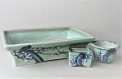 Vintage Japanese Porcelain Very Lovely Green Celadone Glazed Painted  Planters