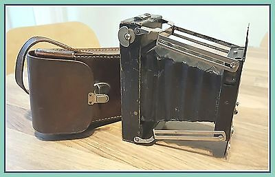 "Ensign ""Ensignette"" No 2 British Roll Film Folding Camera + Leather Case"