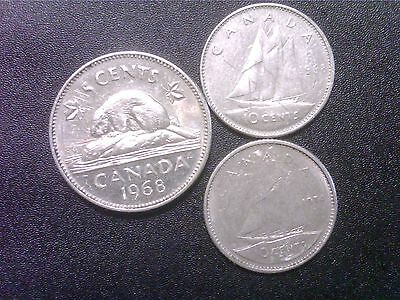 Canada   5  Cents  1968   10  Cents    1968    1974