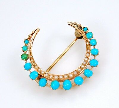 14K Yellow Gold Turquoise And Pearl Crescent Moon Brooch Pin No Reserve