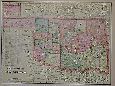 1902 Oklahoma & Indian Territory Antique Color Atlas Map** 115 years-old!