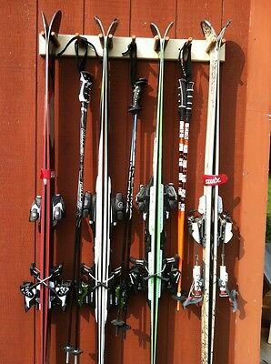 4 Pair Wood Ski and Pole Storage/hanging wall mount rack