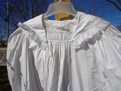 ANTIQUE Vtg White Cotton Nightgown French Lace ? Opened Side Button Closure