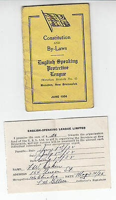 1934 Constitution / By-Laws English Protective League Moncton