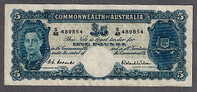 Commonwealth of Australia 1952 KGVI Coombs/Wilson Five Pounds Banknote R48