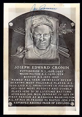 Vintage Joe Cronin Autographed Hall of Fame Postcard Red Sox