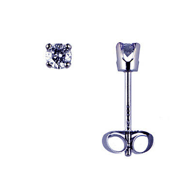 Diamond Stud Earrings Total Of.05 Ct In 14 K Solid White Gold