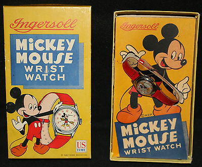 Ingersoll Mickey Mouse Vintage Disney Wrist Watch by US Time with Box - 1950's