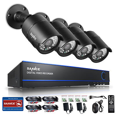 SANNCE 4CH 1080P CCTV DVR AHD Video 3000TVL 100FT Security Cameras System Motion