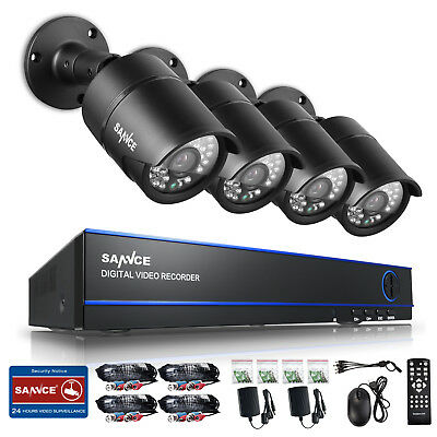 SANNCE 4CH 1080P CCTV DVR HD Video 3000TVL 100FT Security Camera System 2MP Home
