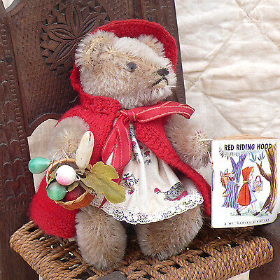 "Vintage 1960s Steiff Jointed 6"" Mohair Teddy Bear ~ Little Red Riding Hood"