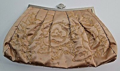 Beaded Satin Honey Brown Gold Evening Bag Chain Strap Purse Prom Wedding Dressy
