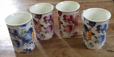 4 Fine Bone China Mugs Roses Flowers Floral Coffee Tea cup Blue Pink Lavender