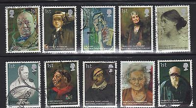GB 2006 150TH ANNIVERSARY OF NATIONAL PORTRAIT GALLERY SET OF 10 USED #s 2640-9