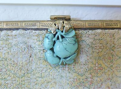 Rare Antique Chinese Hand Carved Turquoise Clasp Art Deco Brocade Clutch Purse