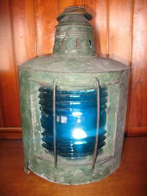 Antique Marine, Ship Lantern In Copper & Tin With Blue Glass & Old Paint