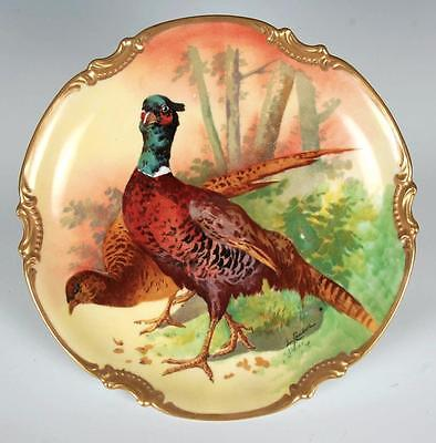 """Coronet Limoges France 10.75"""" Game Charger Wall Plaque Signed Coudert Pheasants"""