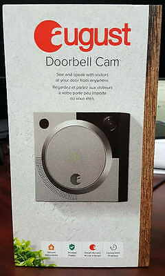 Brand New Sealed August Security Door bell Cam WiFi with Audio Silver Grey Color