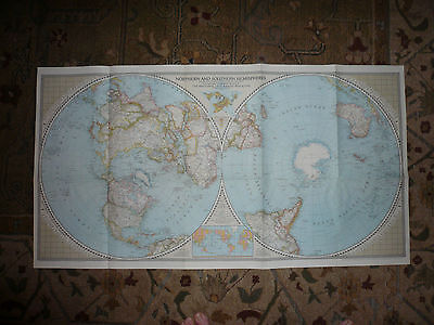 Vintage 1943 National Geographic Wall Map - Northern and Southern Hemisphere