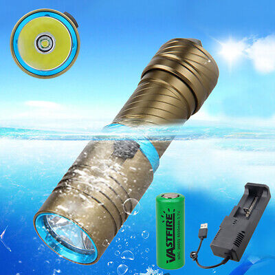 Underwater 100m 10000LM XM-L T6 LED 26650/18650 Scuba Diving Flashlight Torch