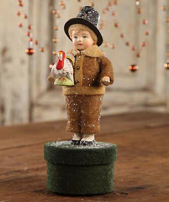Bethany Lowe Thanksgiving Tommy with Turkey on Box Figure Figurine Felt Resin