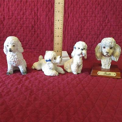 Poodle Lot 4 Figurines 1 Pr White w/ Gray Blue, 1 White, 1 Bust Gently Displayed