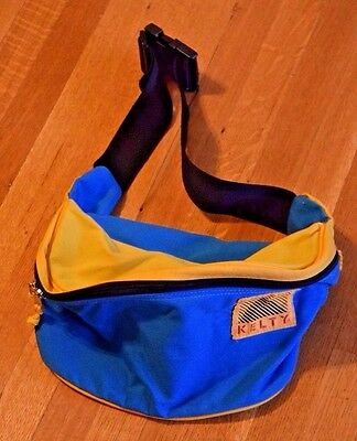 Vintage 1980s Kelty Fanny Pack Bum Bag Blue Yellow Large Hiking Waist Pack
