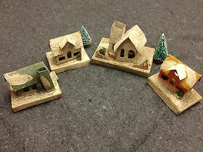 4 Vintage Christmas Cardboard Houses and Churches Pre 1940s Dolly Toy Co