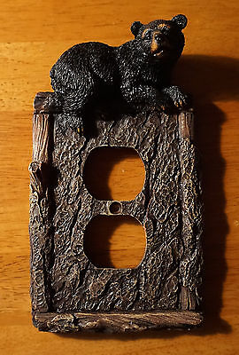 BLACK BEAR PINE WOOD BARK OUTLET COVER CABIN Duplex Home Decor Lodge Log NEW