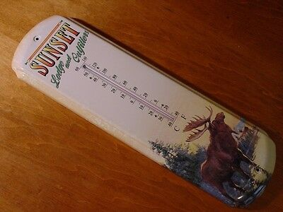 SUNSET LODGE MOOSE Indoor Outdoor Thermometer Rustic Log Cabin Home Decor NEW