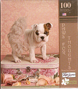 Bulldog Pink Ballerina Puzzle 100 pieces made in the USA