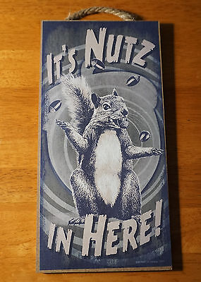 IT'S NUTS IN HERE GRAY SQUIRREL & ACORNS Rustic Cabin Wood Home Decor SIGN - NEW