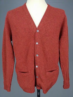 Vintage Lord Jeff Jason's Knit sz XL Mohair Wool Cardigan Sweater Maroon