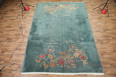 """Floral Green 10x13 Art Deco Chinese Oriental Area Rug Wool Carpet 13' 3"""" x 9' 9"""""""
