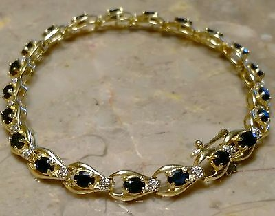 Estate 14K Solid Yellow Gold Natural Sapphires & Diamonds Tennis Bracelet 7""