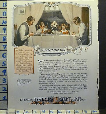 1926 Delco Light Electric Family Dinner Thanksgiving Holiday Ad Ae63
