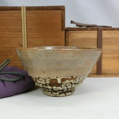 G388 GREAT Korean Joseon Dynasty pottery tea bowl of AO-IDO-CHAWAN w/double box.