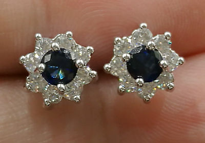 NATURAL BLUE Sapphire& WHITE CZ Solid SILVER STICKET EARRINGS