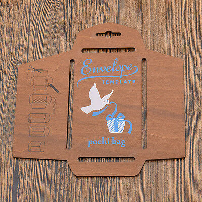 Vintage Envelope Making Template Stencil Wooden with Direction DIY Hand Crafts