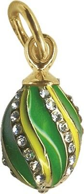 Faberge Egg Pendant / Charm with crystals 1.6 cm green #0855-08